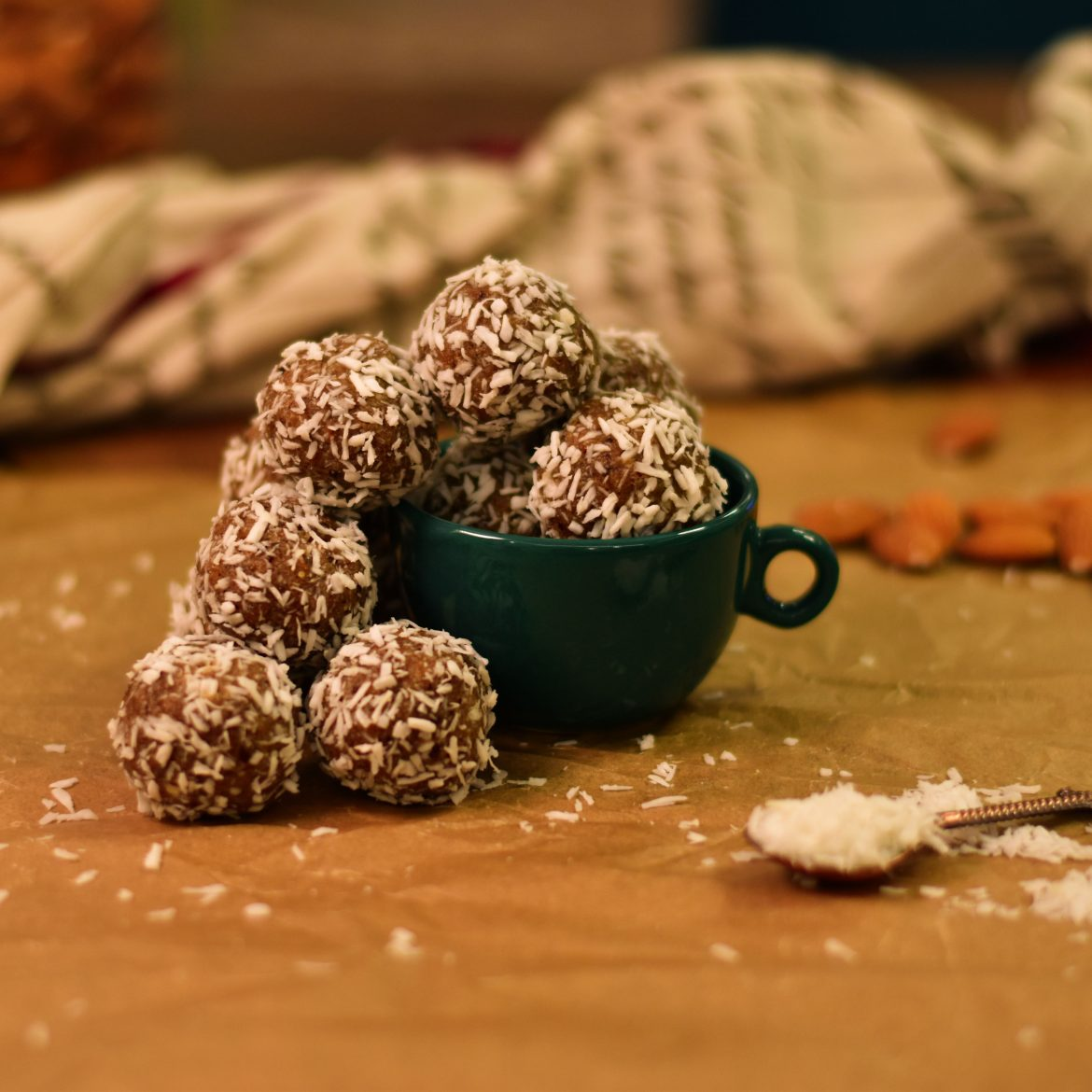 Food photography: Almond Date Tahini Energy Balls