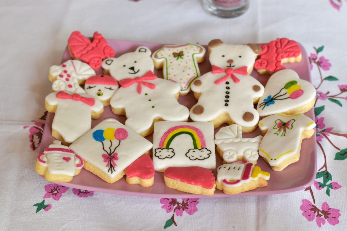 Baby Shower Fondant Icing Decorated sugar cookies