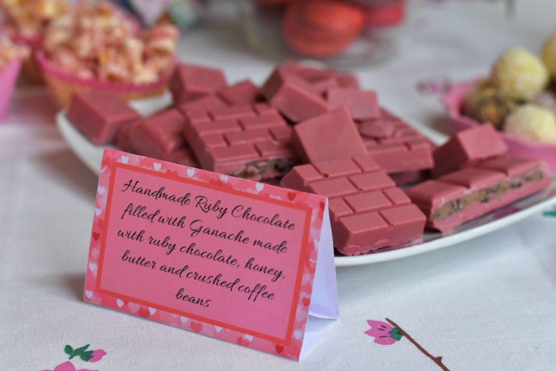 homemade ruby chocolate, baby shower food