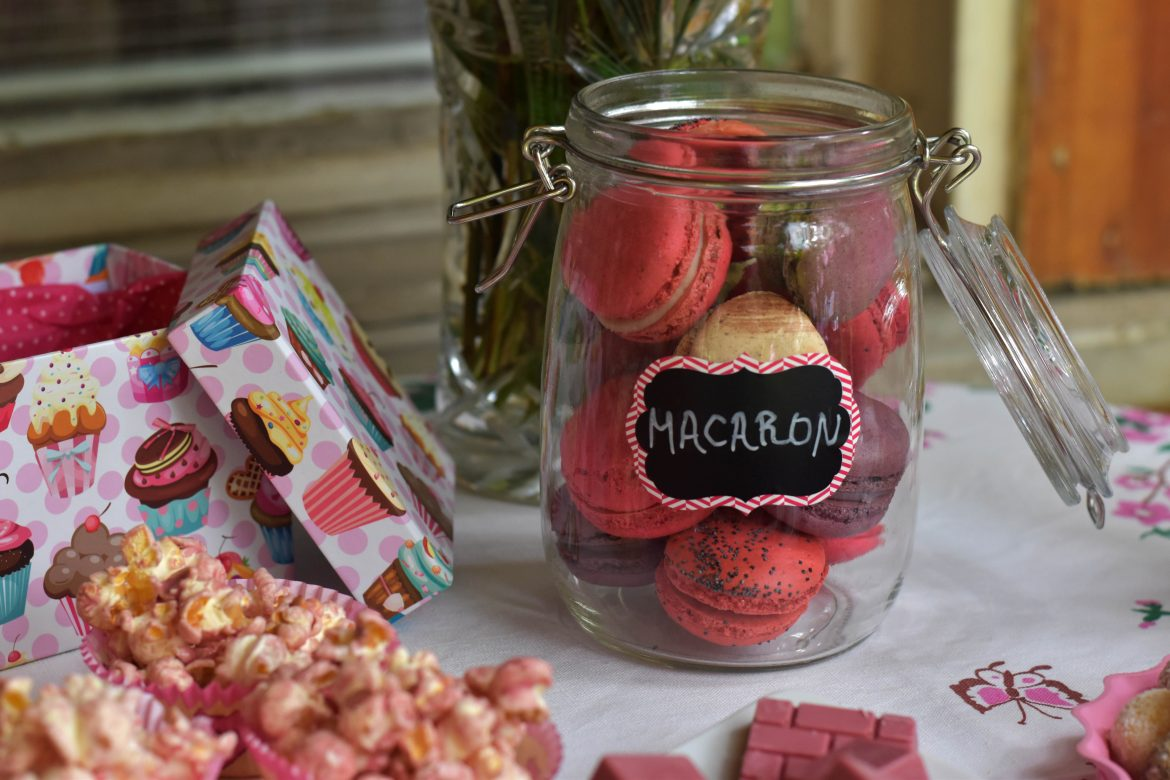 Baby shower party, french macarons in a jar