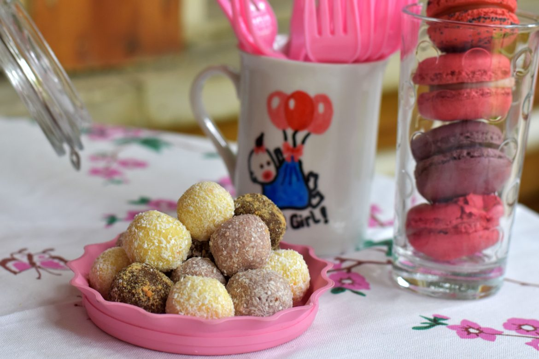 chocolate truffles, baby shower food presentation