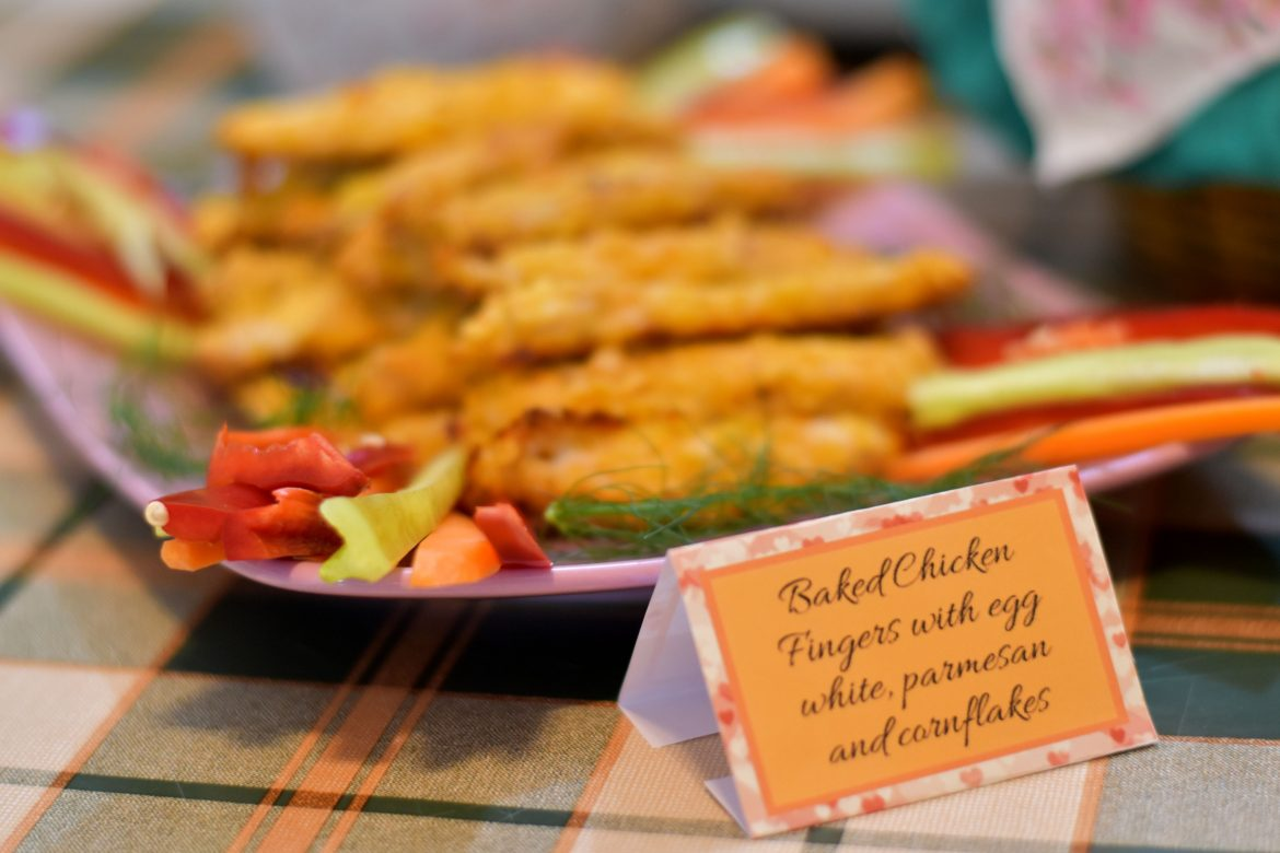 baked chicken fingers, baby shower food ideas