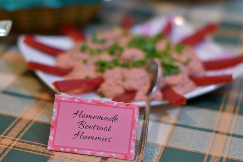 homemade beetroot hummus, baby shower food presentation