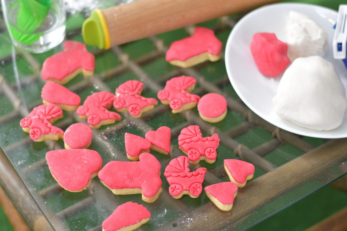Baby shower pink decorated cookies with fondant icing