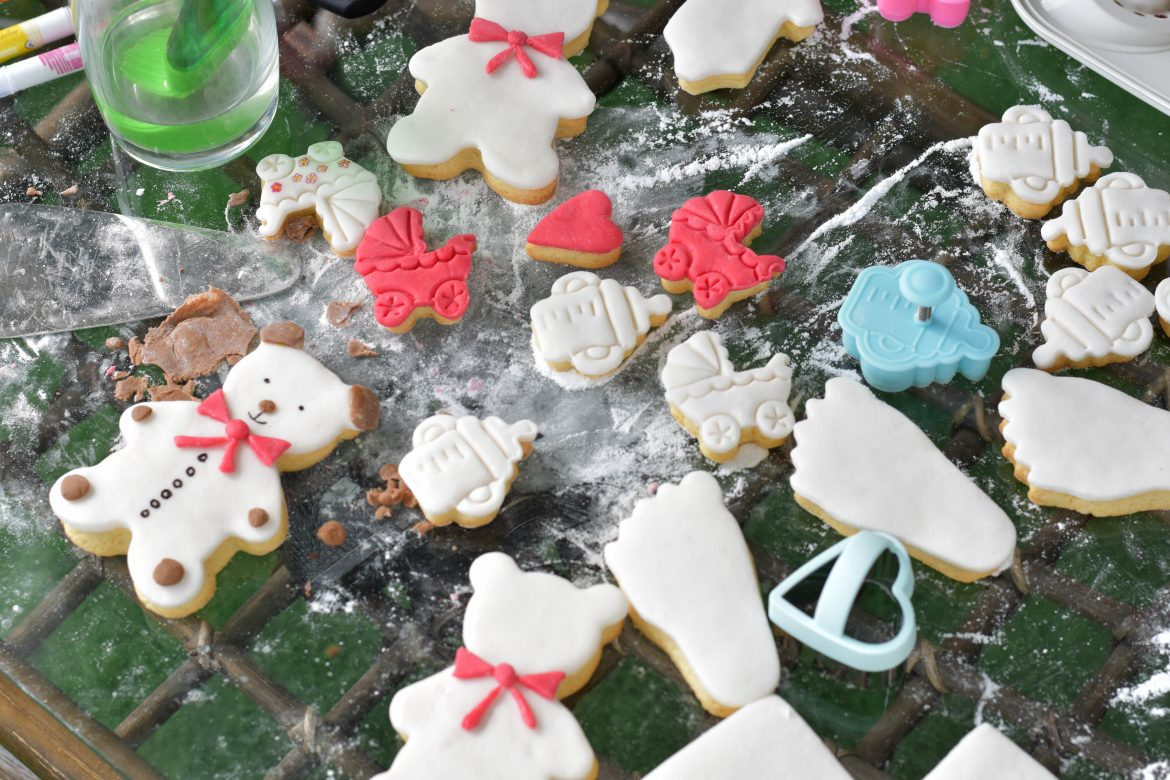 Baby shower decorated cookies with fondant icing