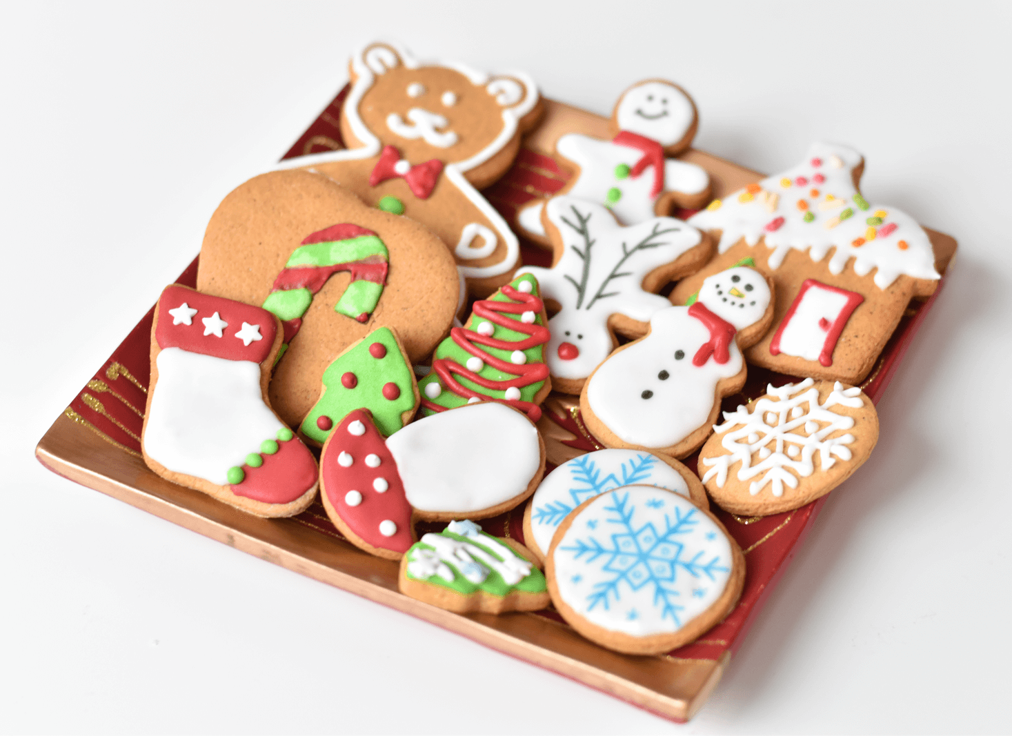 Christmas Gingerbread Cookies, decorated with royal icing
