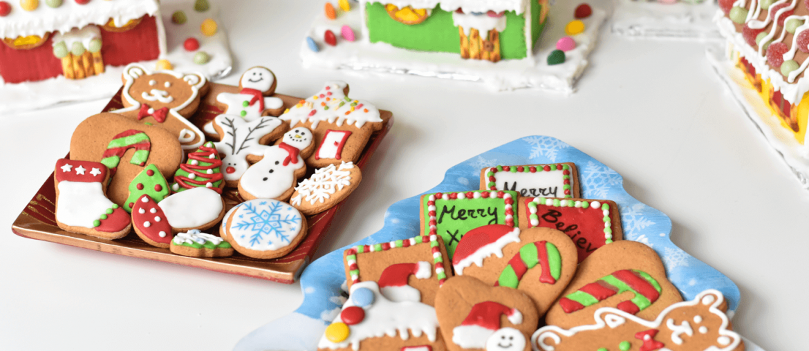 Gingerbread Christmas Cookies decorated with royal icing