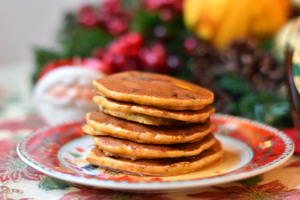 Gluten free pumpkin pancakes, made with rice flour and chocolate chips